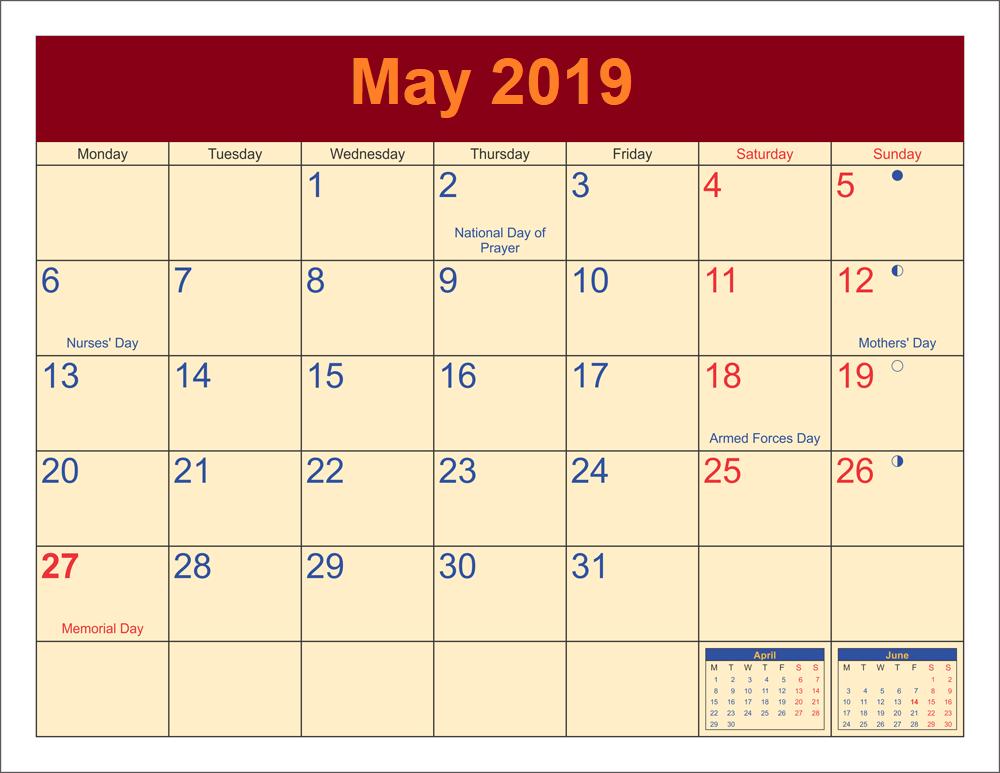 Printable May 2019 Calendar Moon Phases