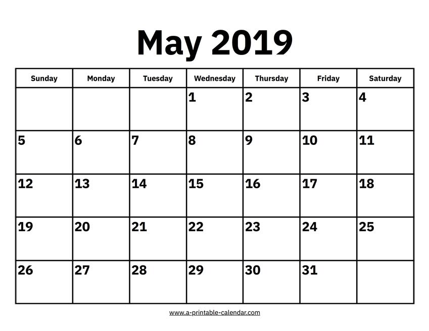 Printable May 2019 Calendar PDF