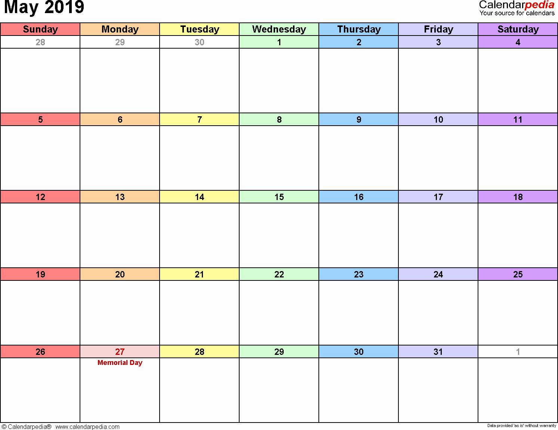 Printable May 2019 Calendar Word