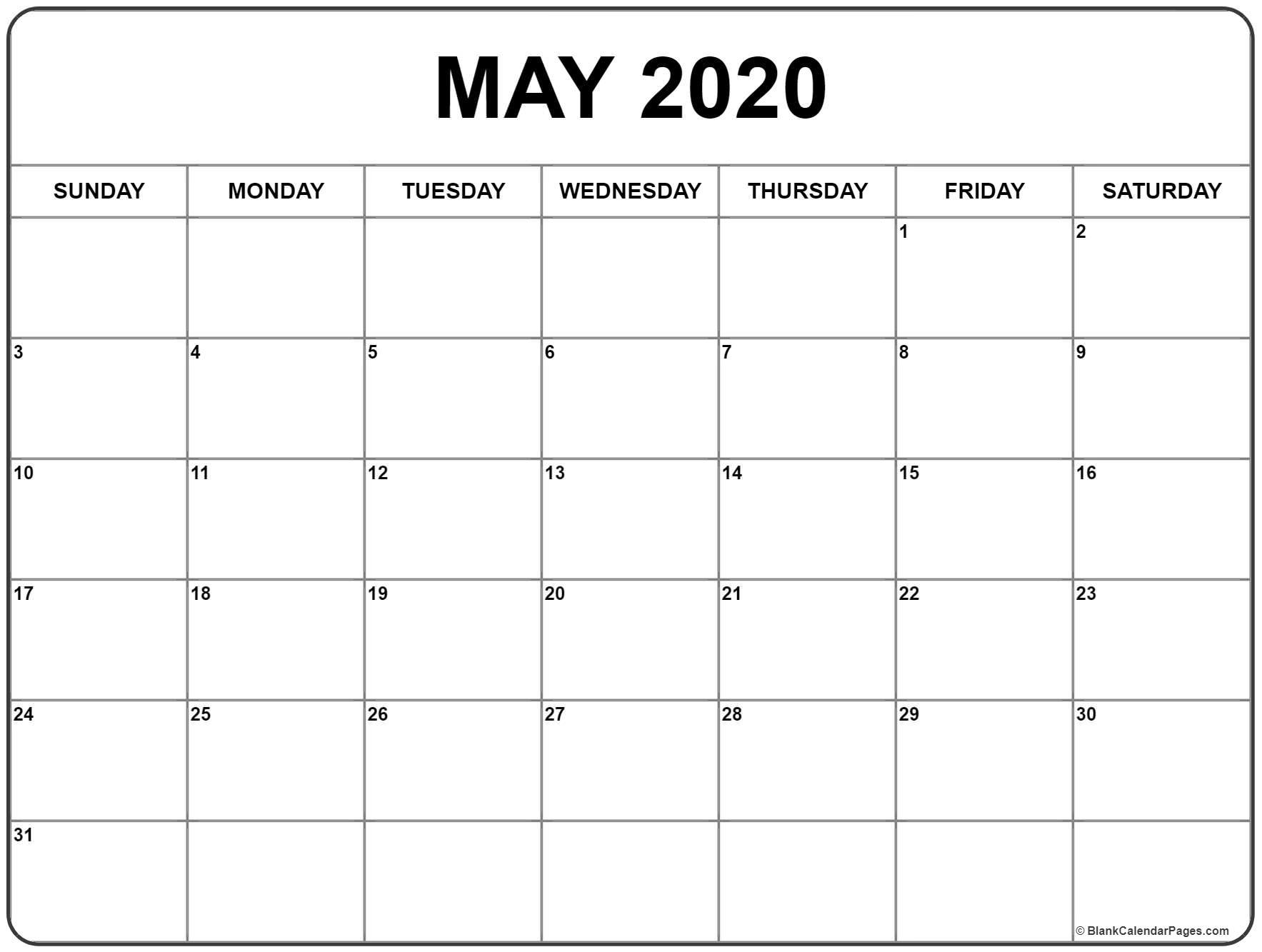 Printable May 2020 Calendar Blank