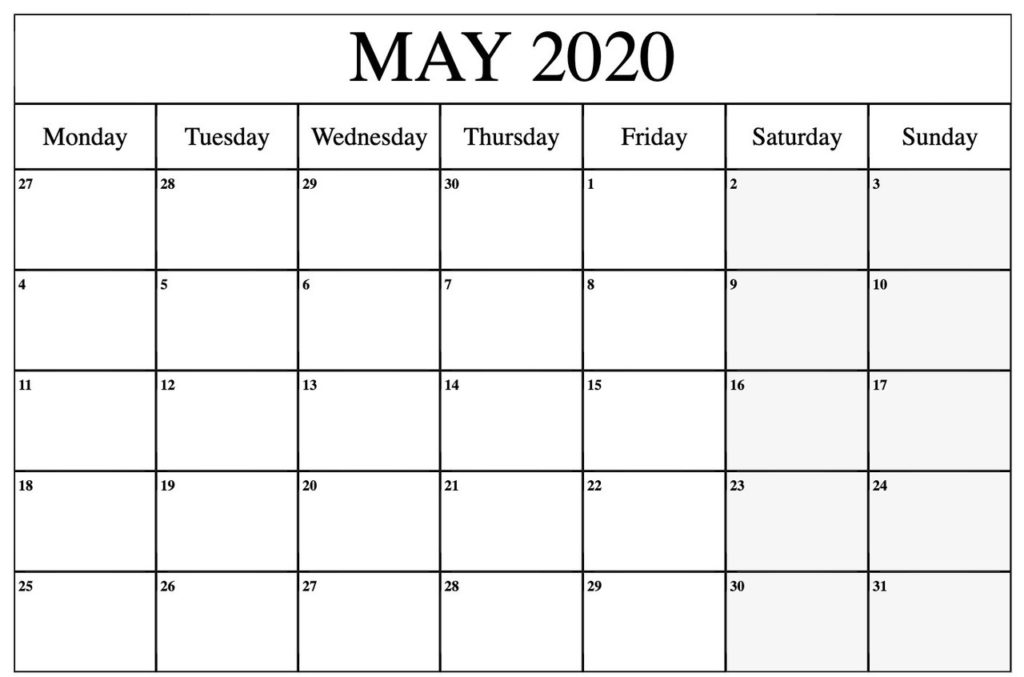 Printable May 2020 Calendar PDF