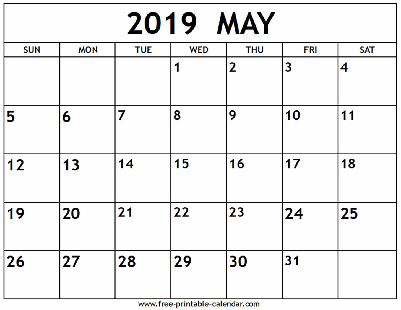 Printable May Calendar 2019