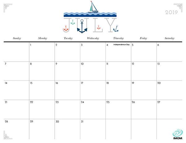 2019 Blank Calendar July Printable