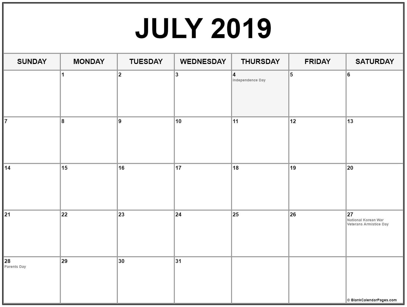 2019 July Calendar Printable Template