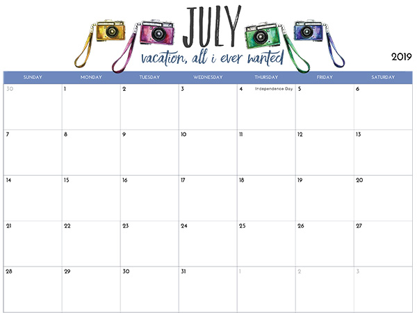 2019 Printable July Calendar