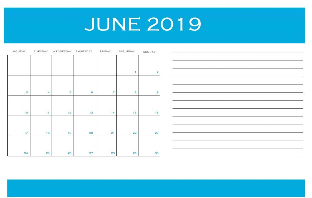 Best June 2019 Printable Calendar