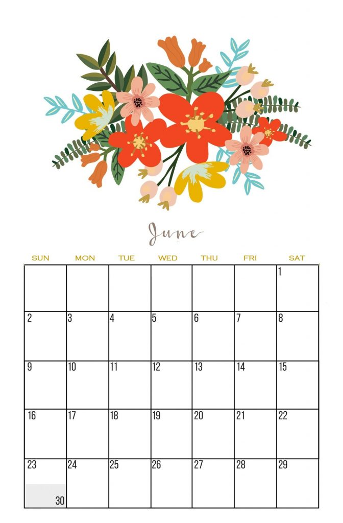Best June 2019 Wall Calendar