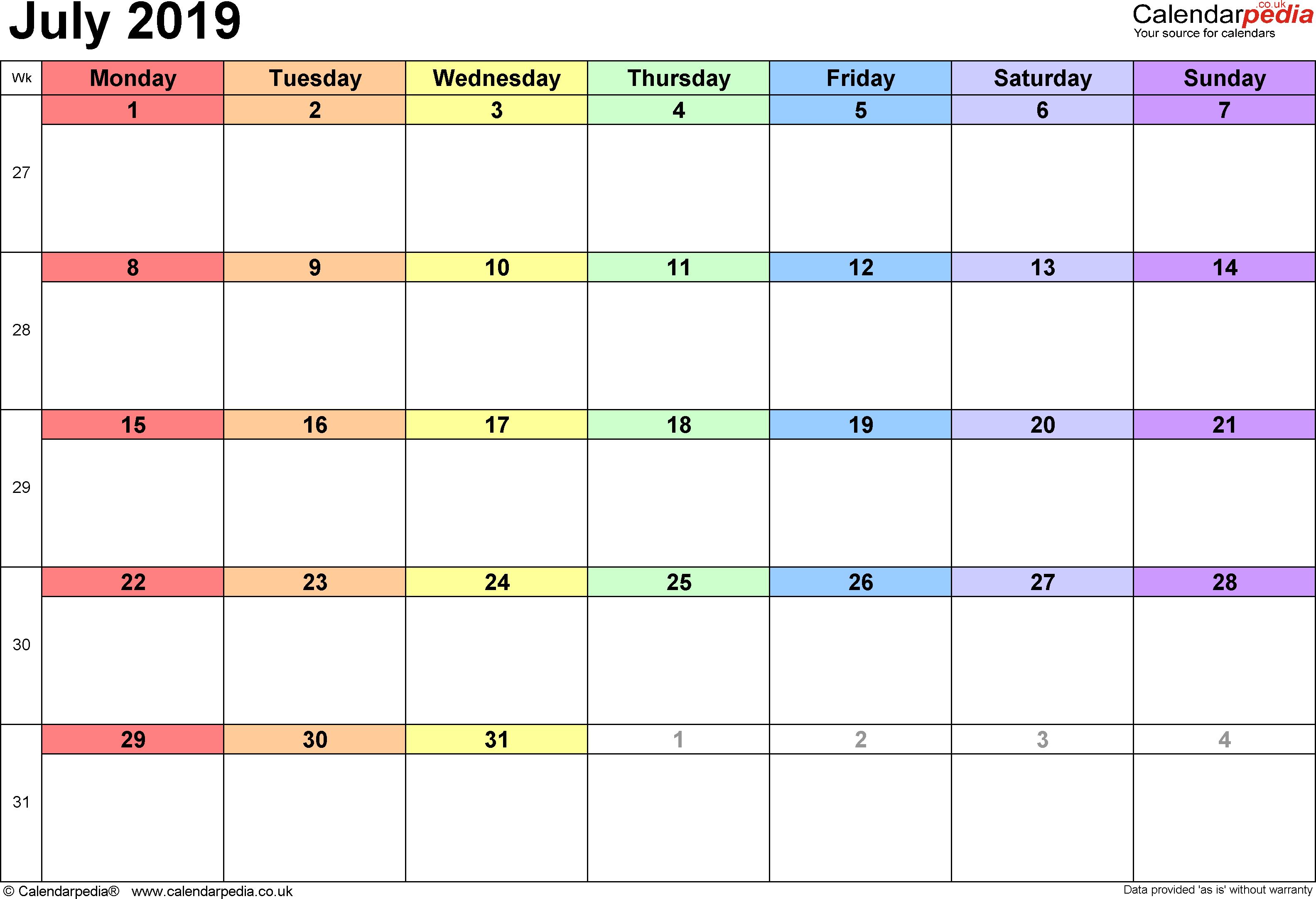 Blank July Calendar 2019