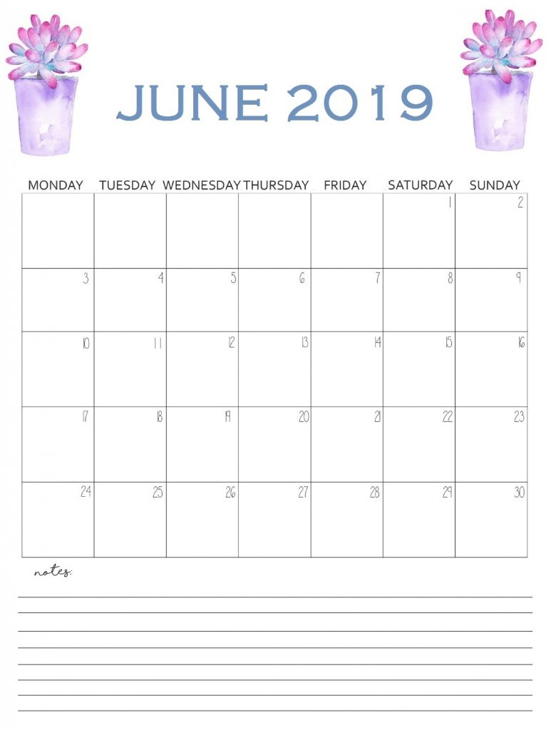 Cute June 2019 Wall Calendar