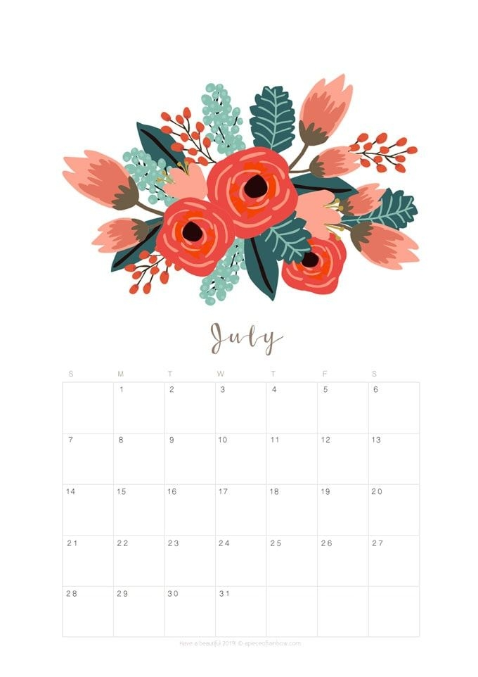 Printable July 2019 Calendar Monthly Planner