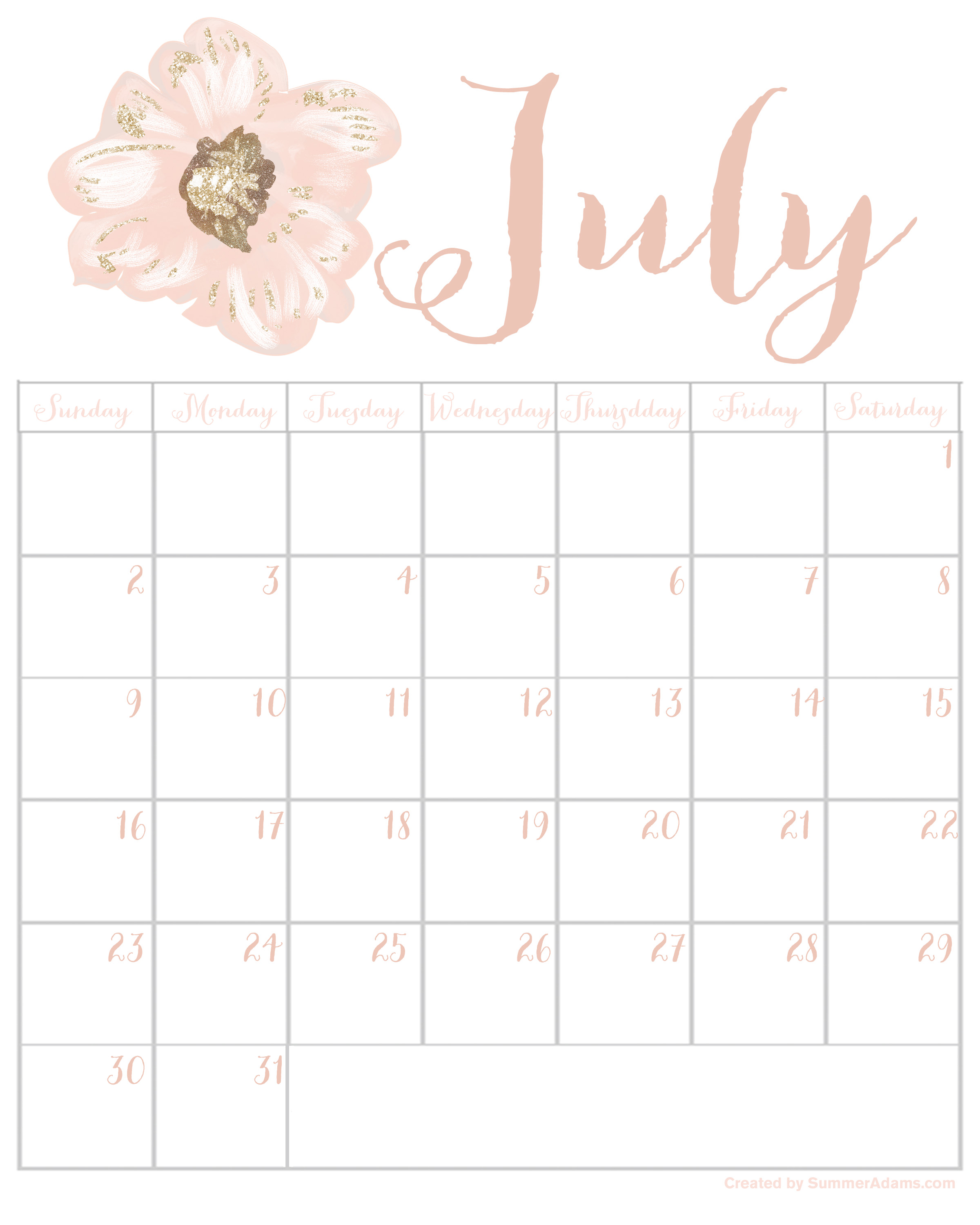 Floral July 2019 Calendar Printable Template