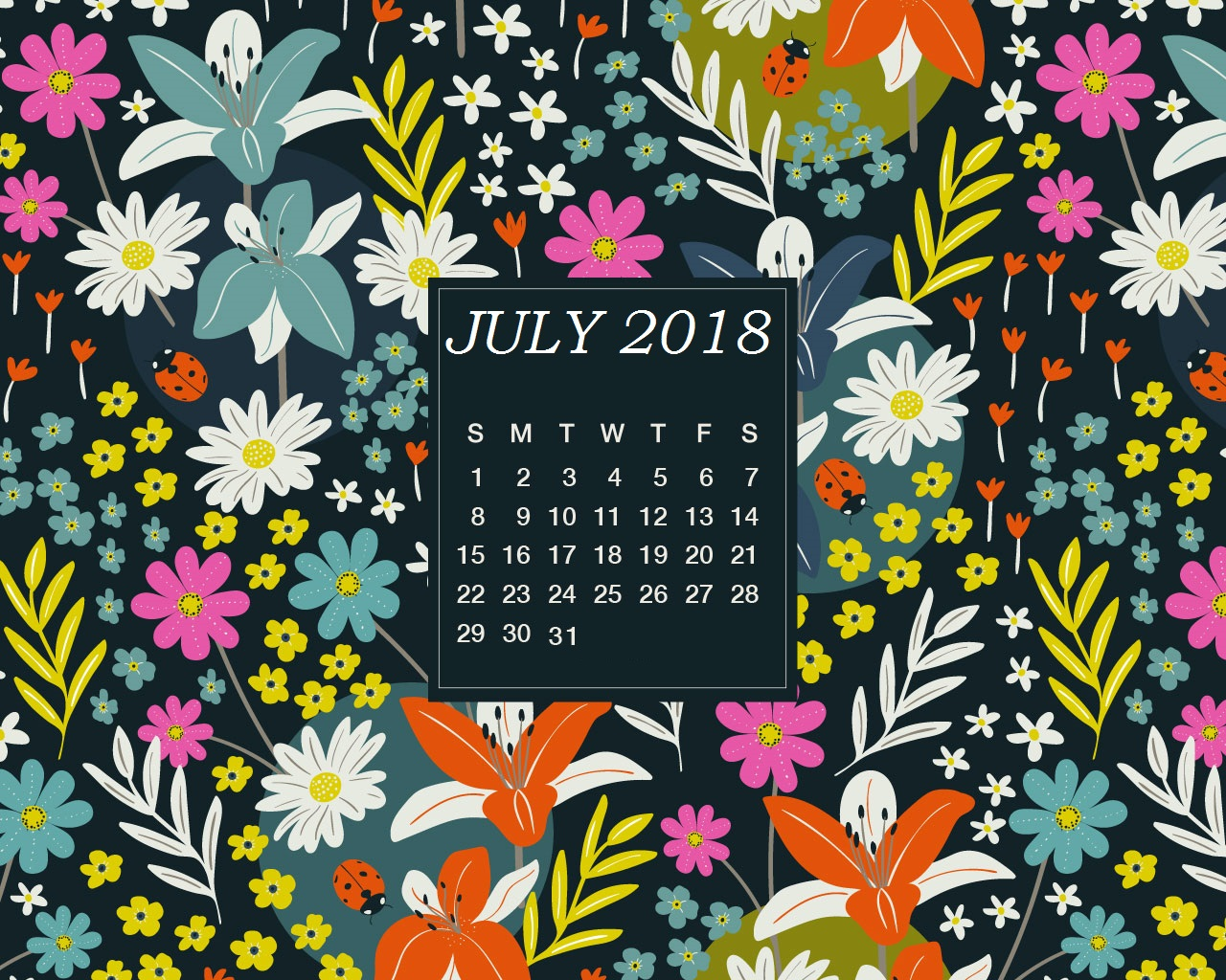 Floral July Wall Calendar 2019