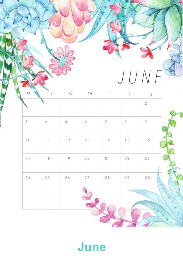 Floral June 2019 Desk Calendar