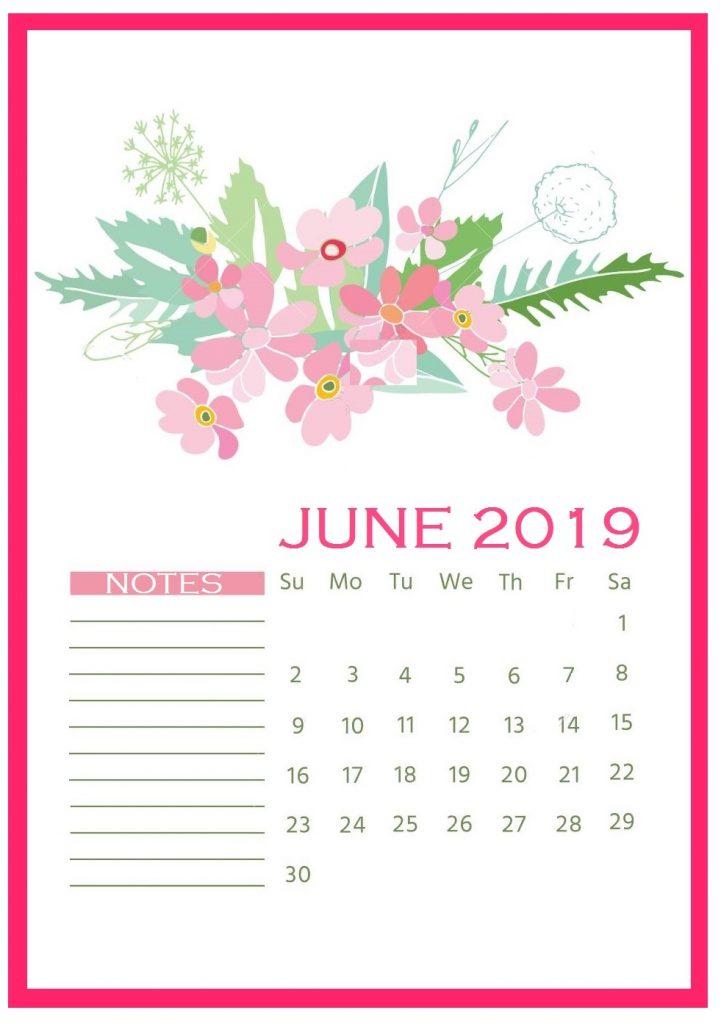 Floral Wall June 2019 Calendar