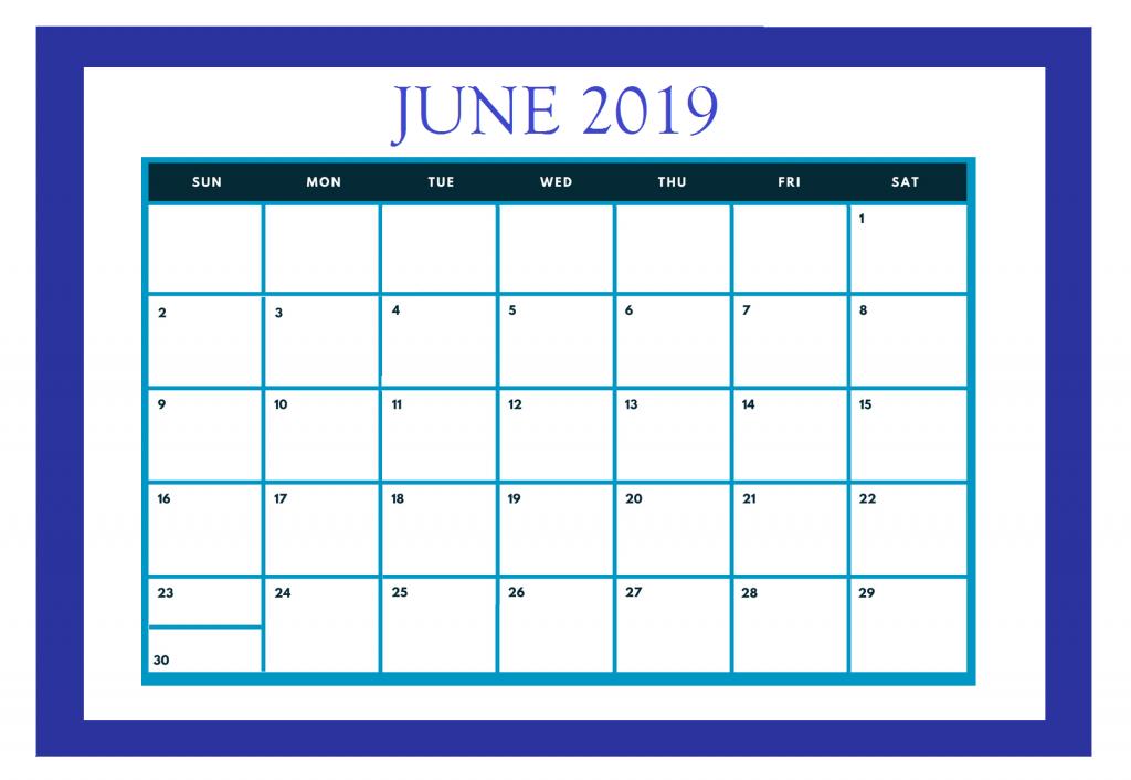 Free June 2019 Calendar Template