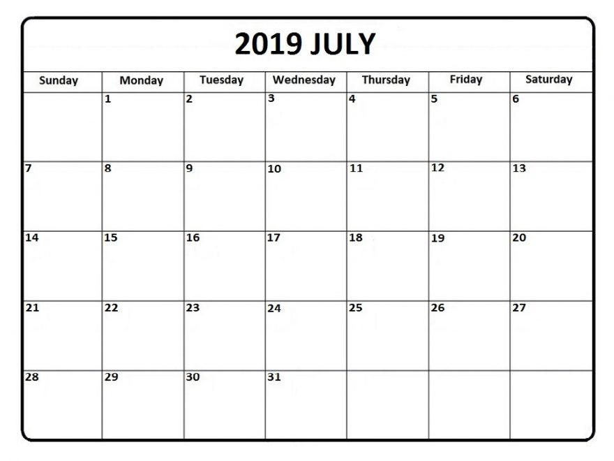 Free Printable July 2019 Calendar Desk