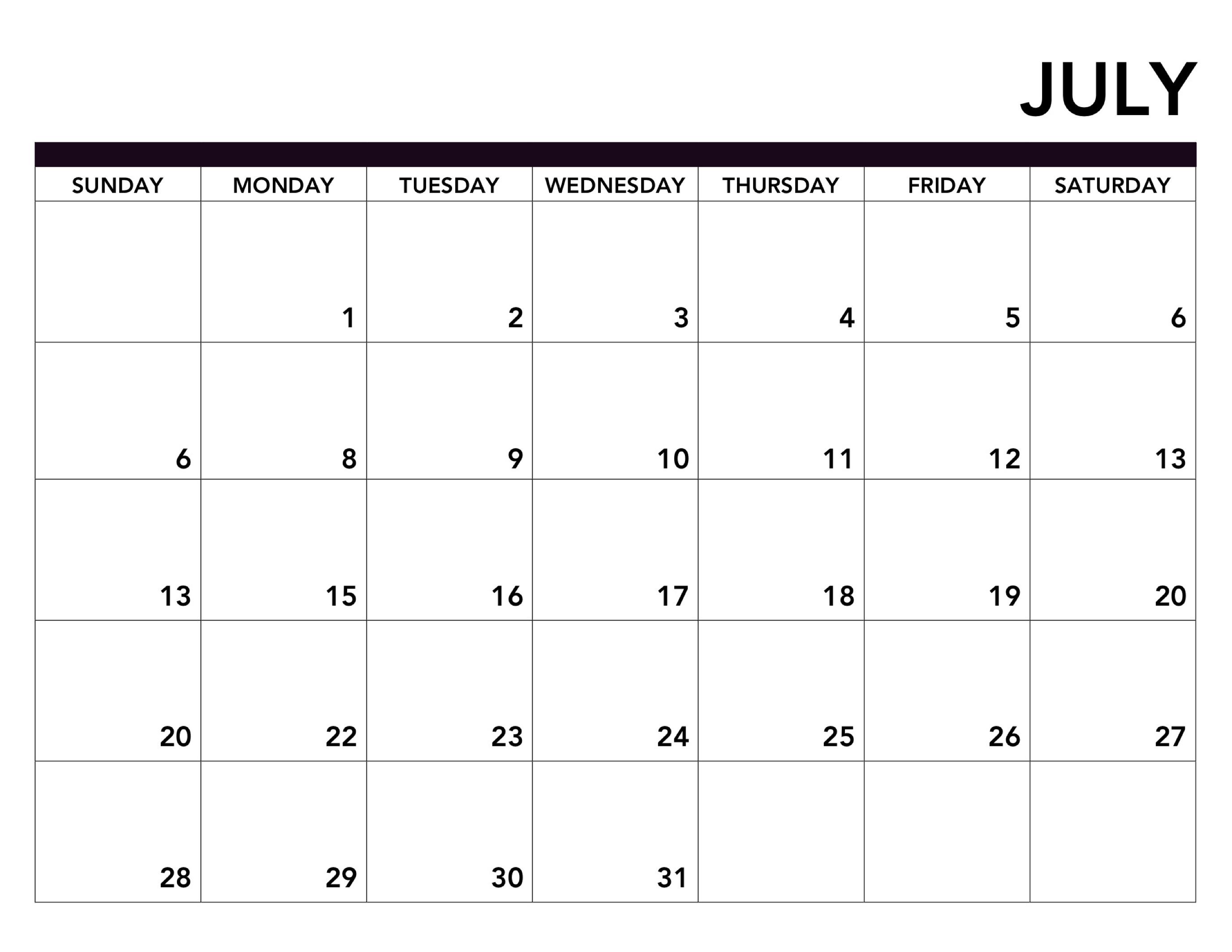 Free Printable July Calendar 2019