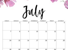 July 2019 Calendar Cute Designs