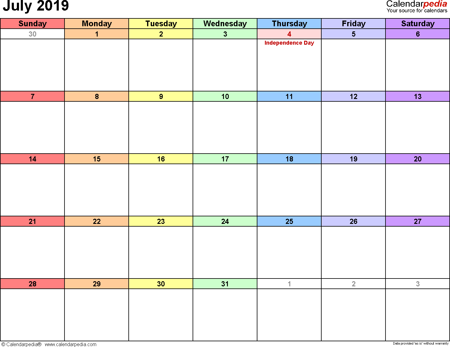 July 2019 Calendar In Excel