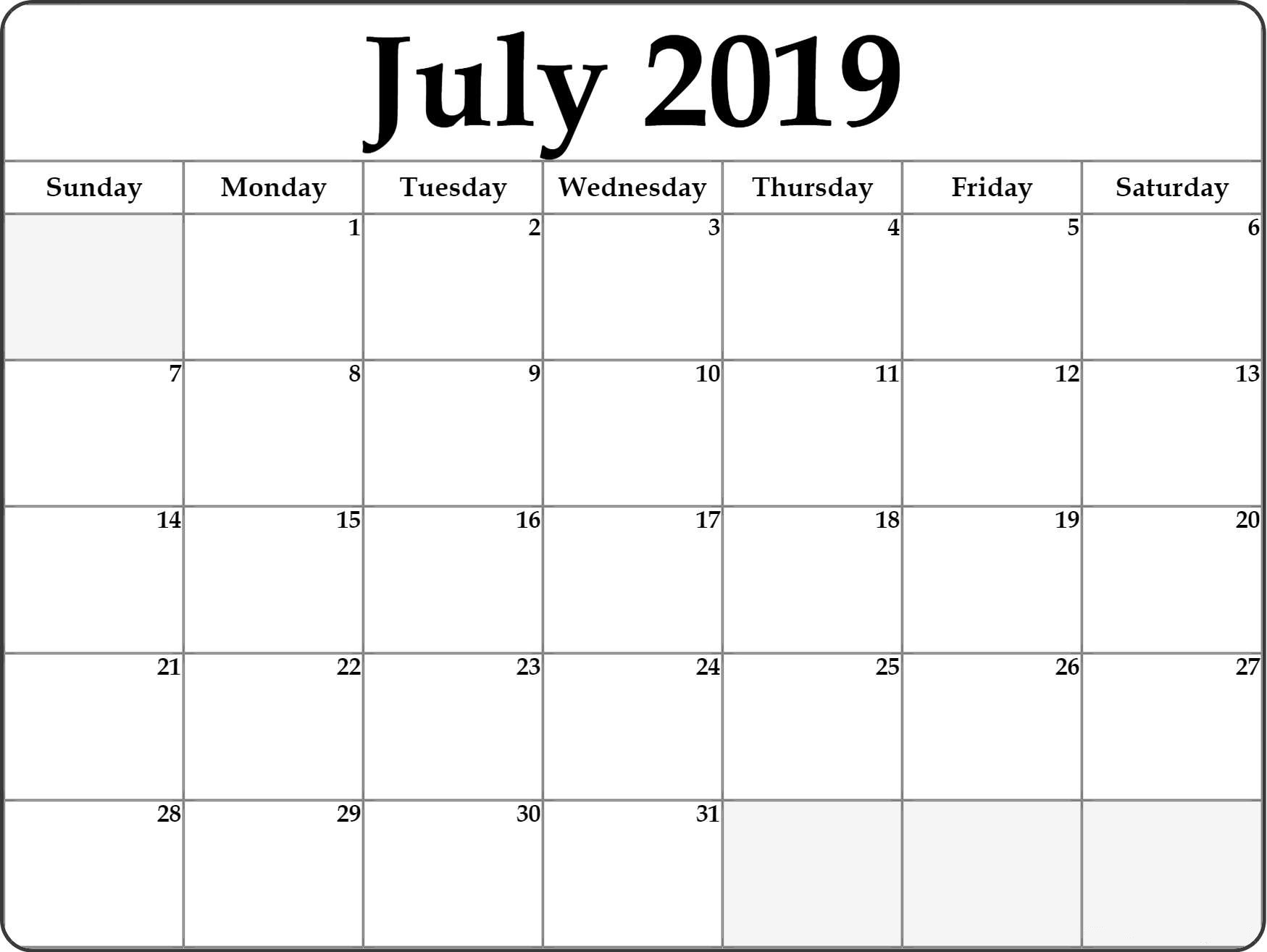 July 2019 Calendar Monthly Template