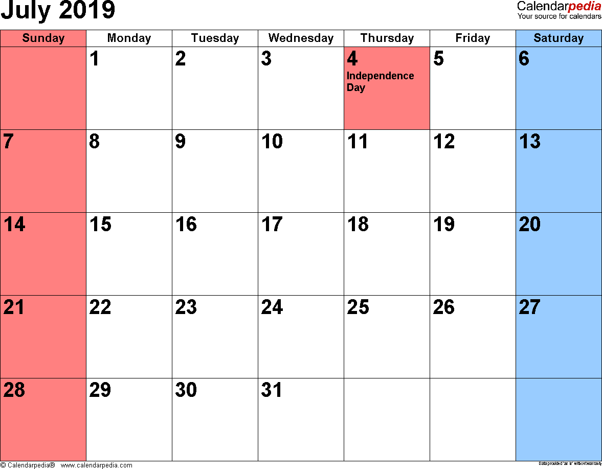 July 2019 Calendar PDF Printable