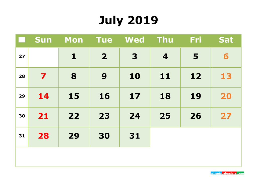 July 2019 Monthly Calendar Printable