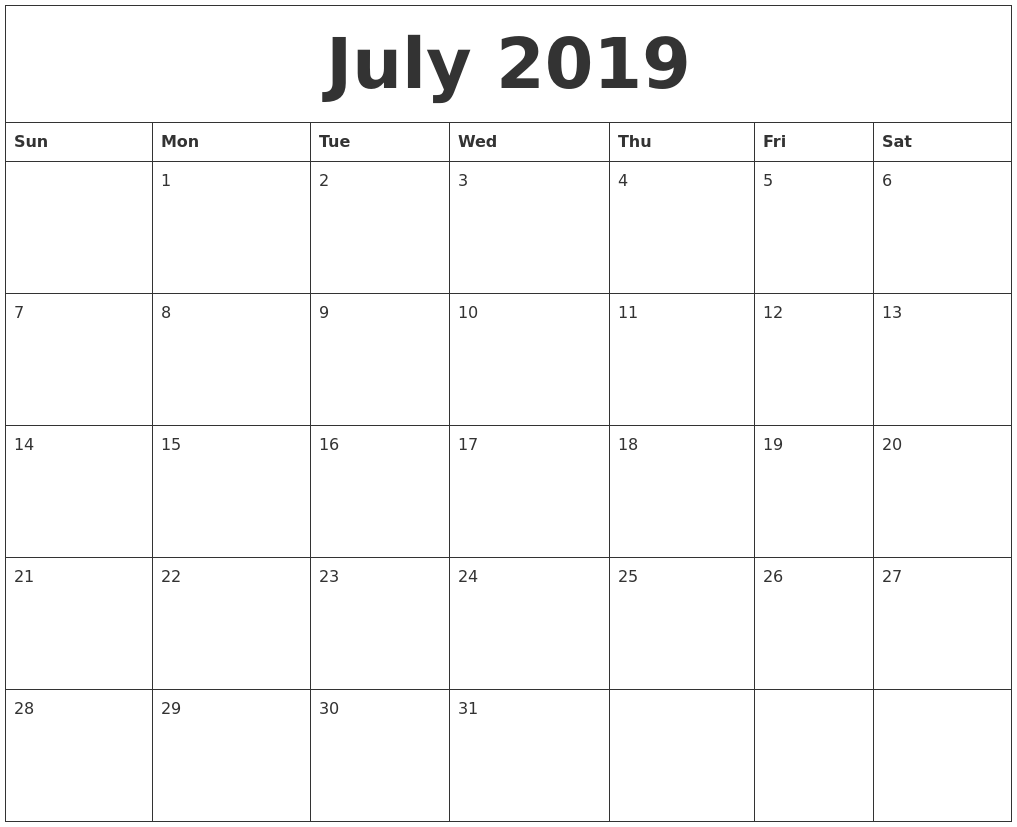 July 2019 Monthly Printable Calendar