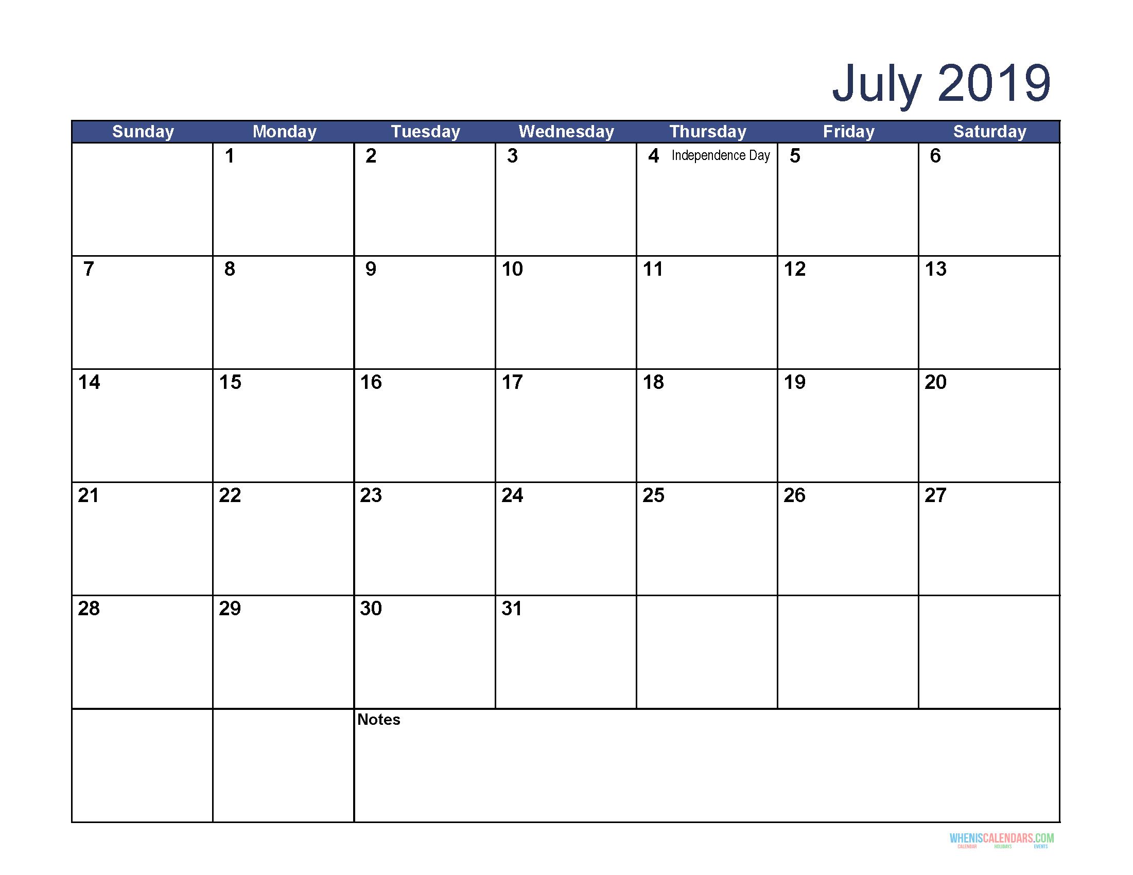 July 2019 Printable Calendar