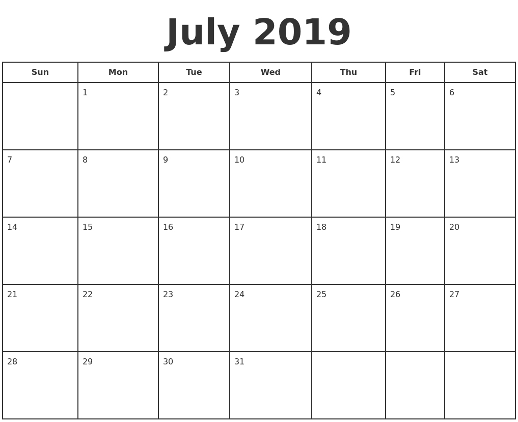July Month Calendar 2019 Word