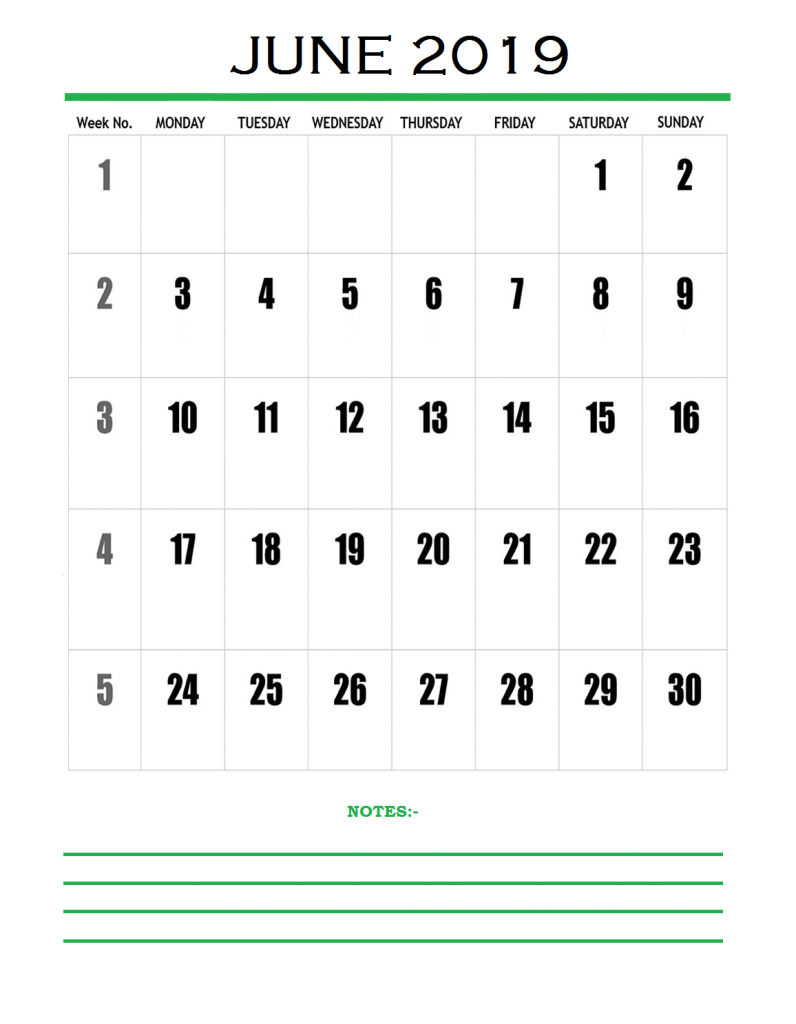June 2019 Blank Template Printable