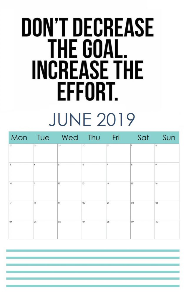 June 2019 Calendar With Quotes