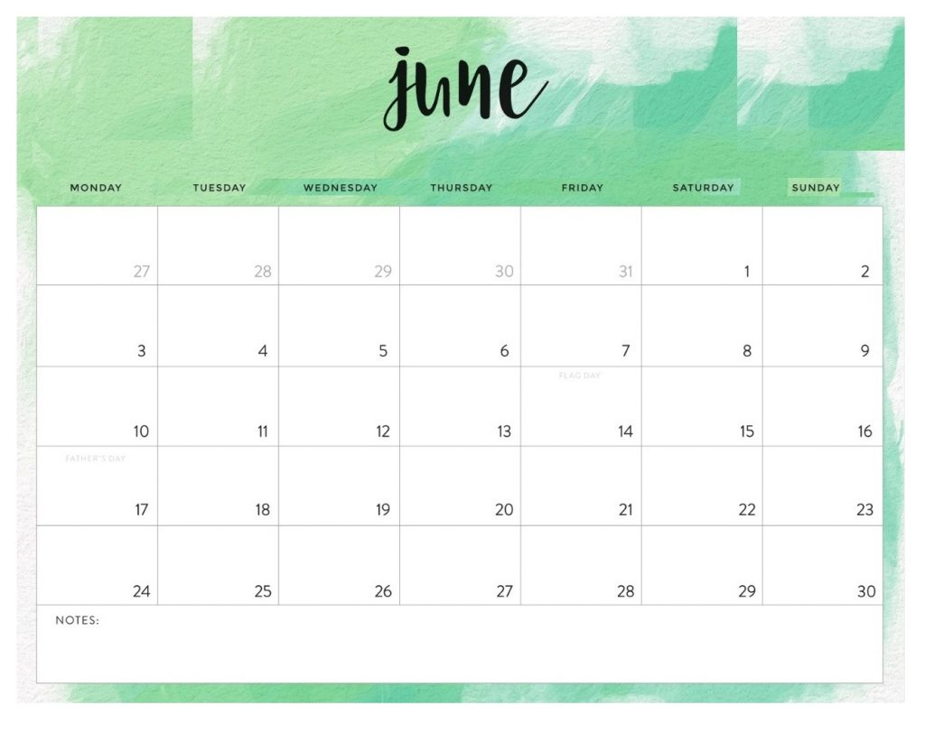 June 2019 Desk Calendar Template