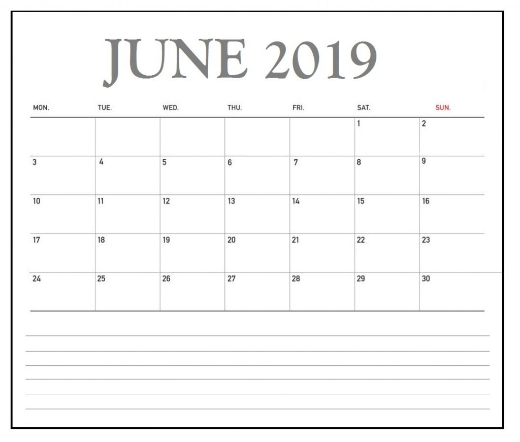 June 2019 Office Desk Calendar To Print