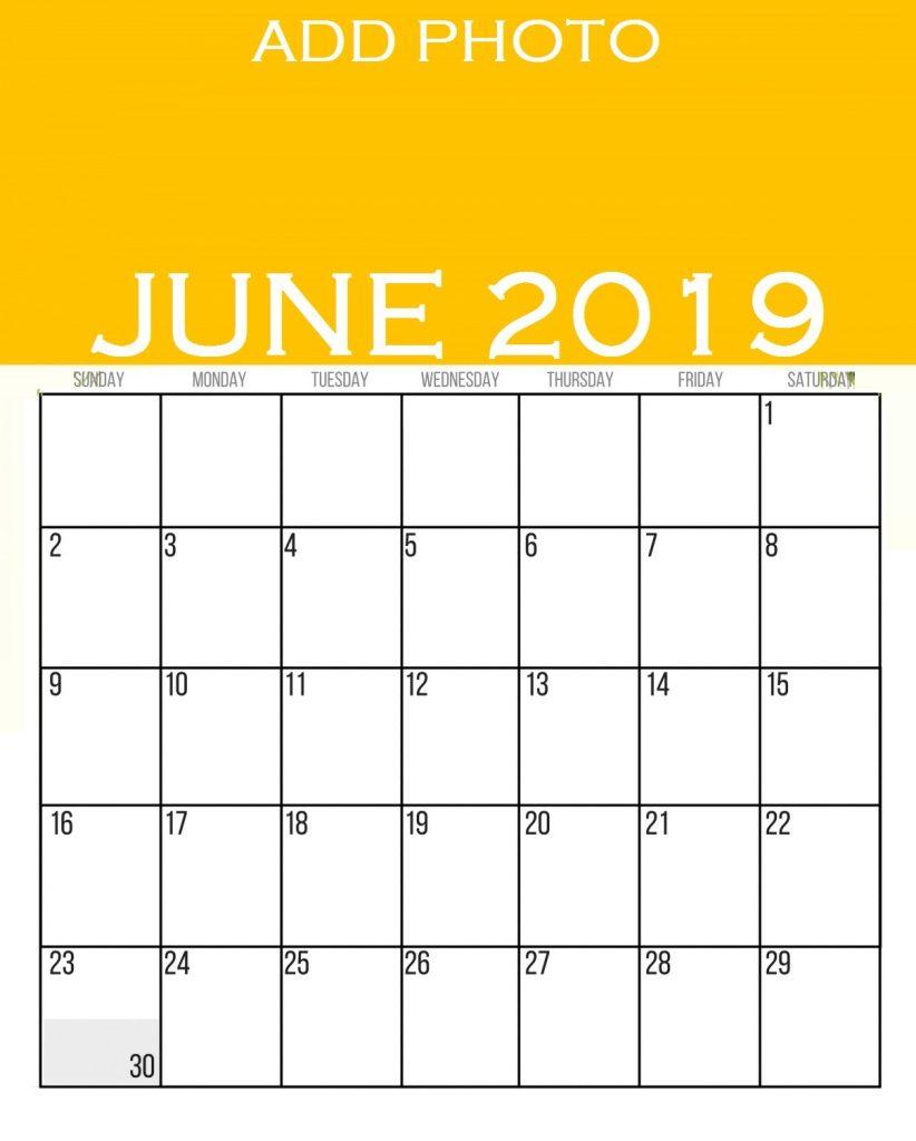 June 2019 Wall Calendar