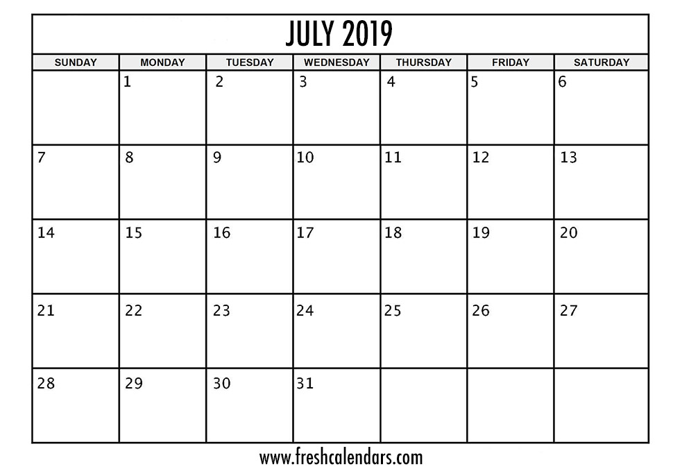 Monthly Calendar July 2019 Templates