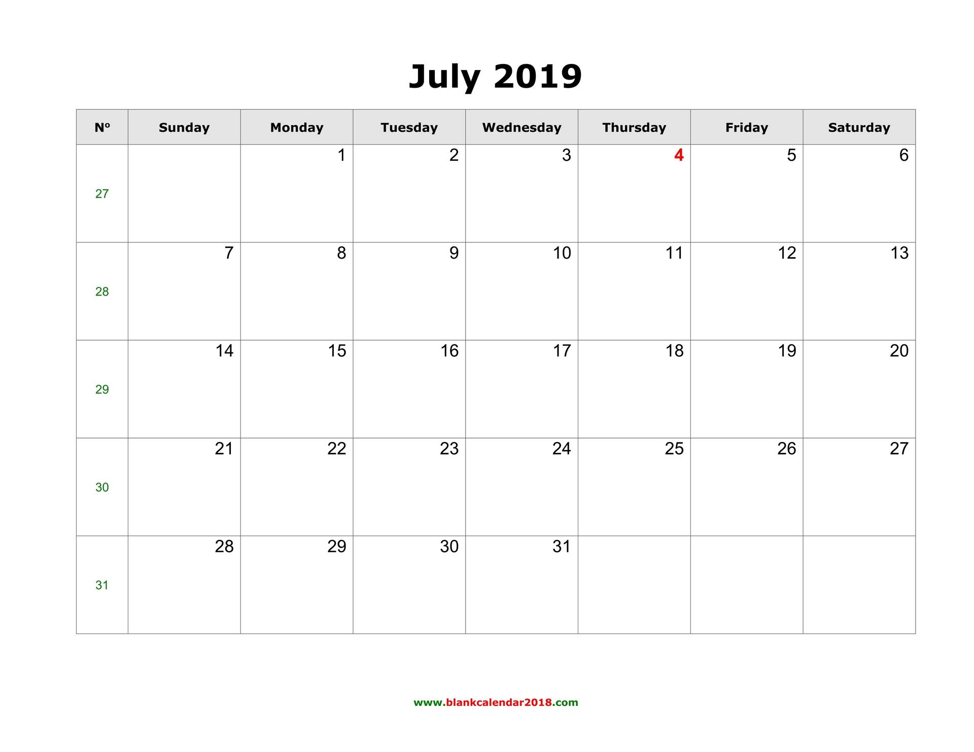 Print July 2019 Calendar Excel