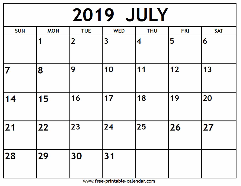 Print July 2019 Calendar