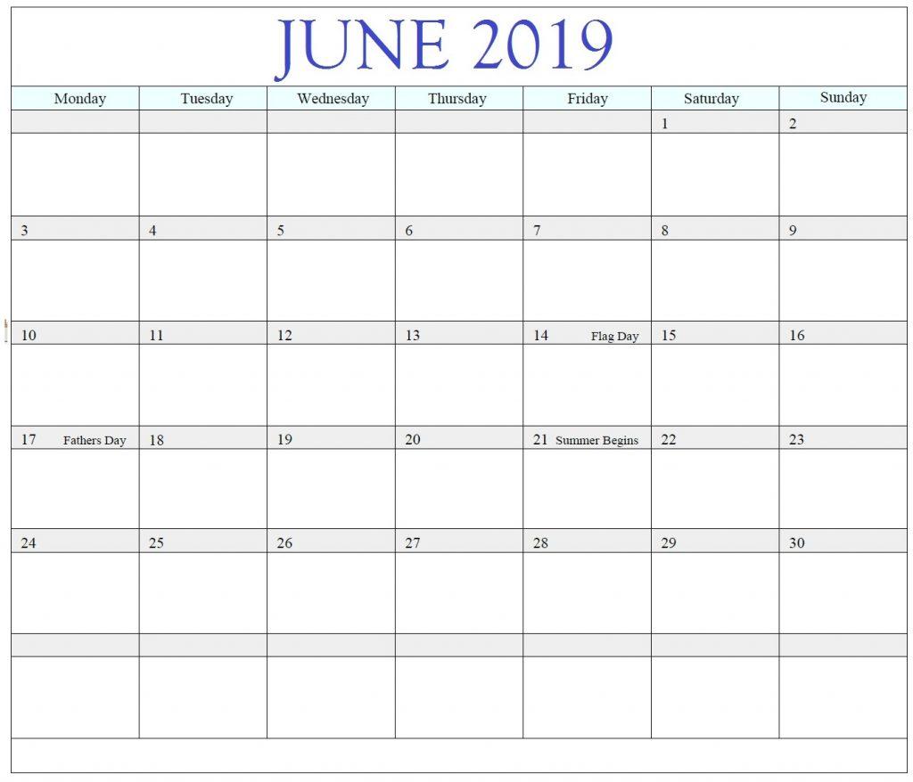 Print June 2019 Blank Calendar