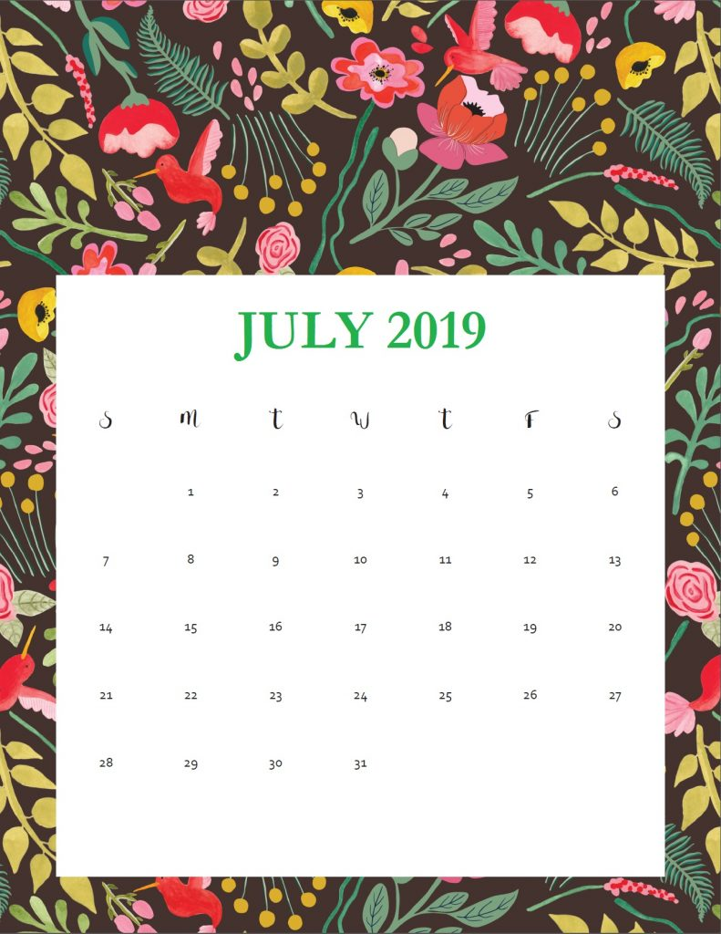Printable July 2019 Cute Calendar