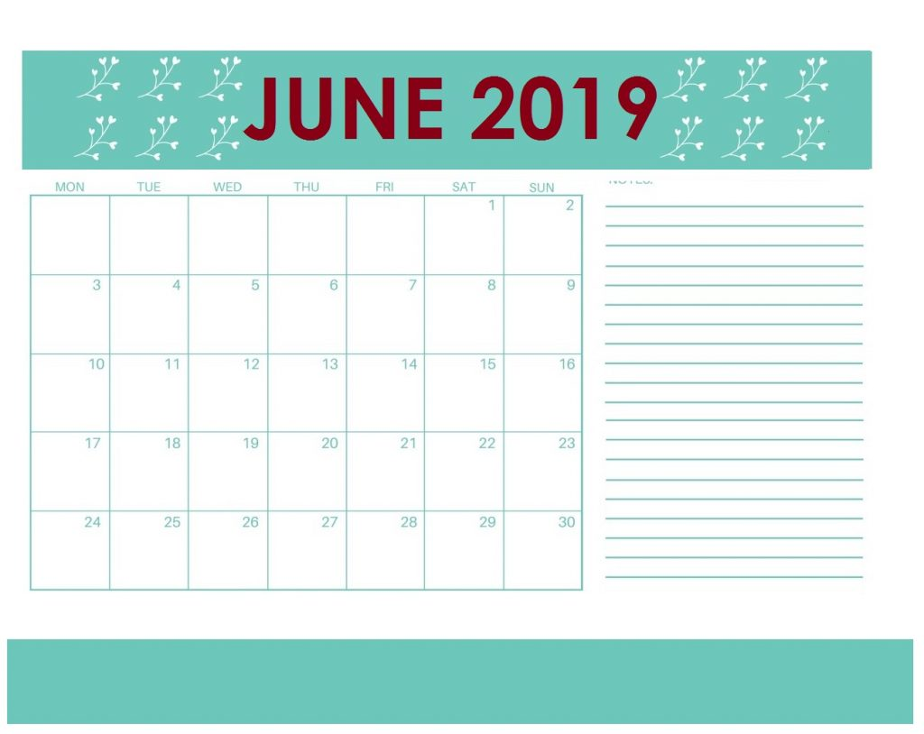 Printable June 2019 Monthly Planner