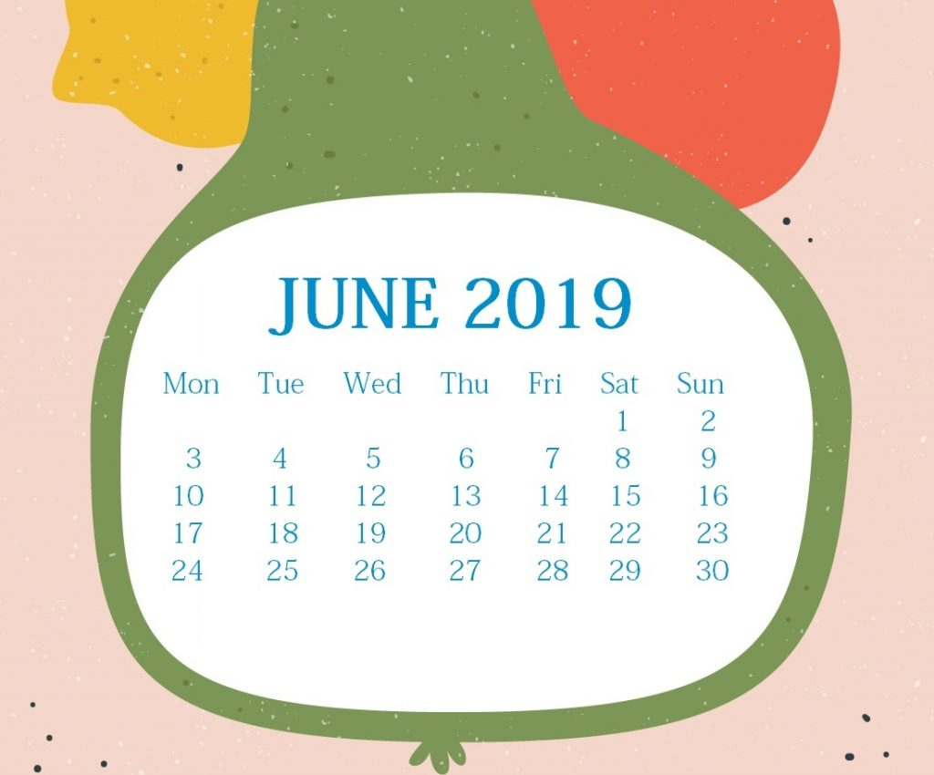 Watercolor June 2019 Desk Calendar
