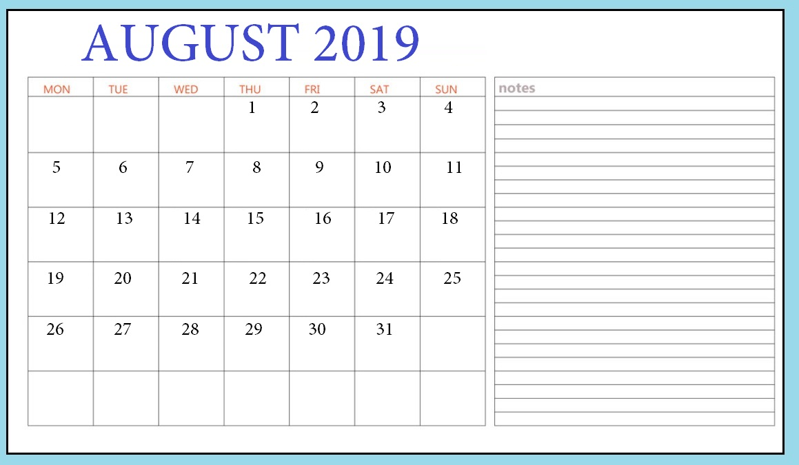 August 2019 Blank Template