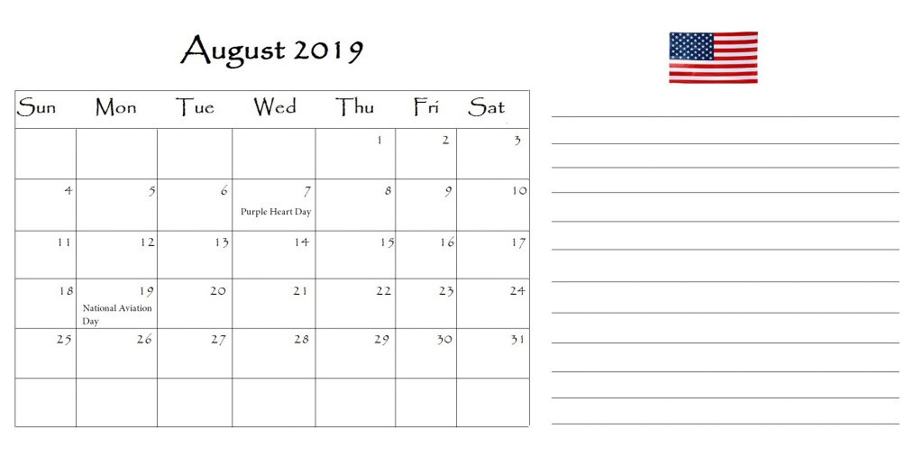 August 2019 Calendar United States Holidays