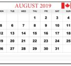 August 2019 Calendar With Canada Holidays