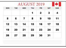 August 2019 Calendar With Canada Holidays