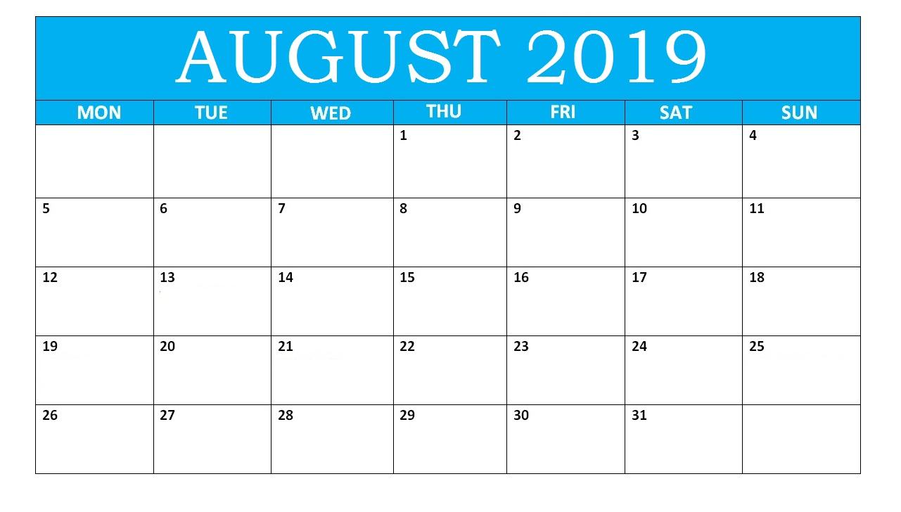 August 2019 Calendar With Notes