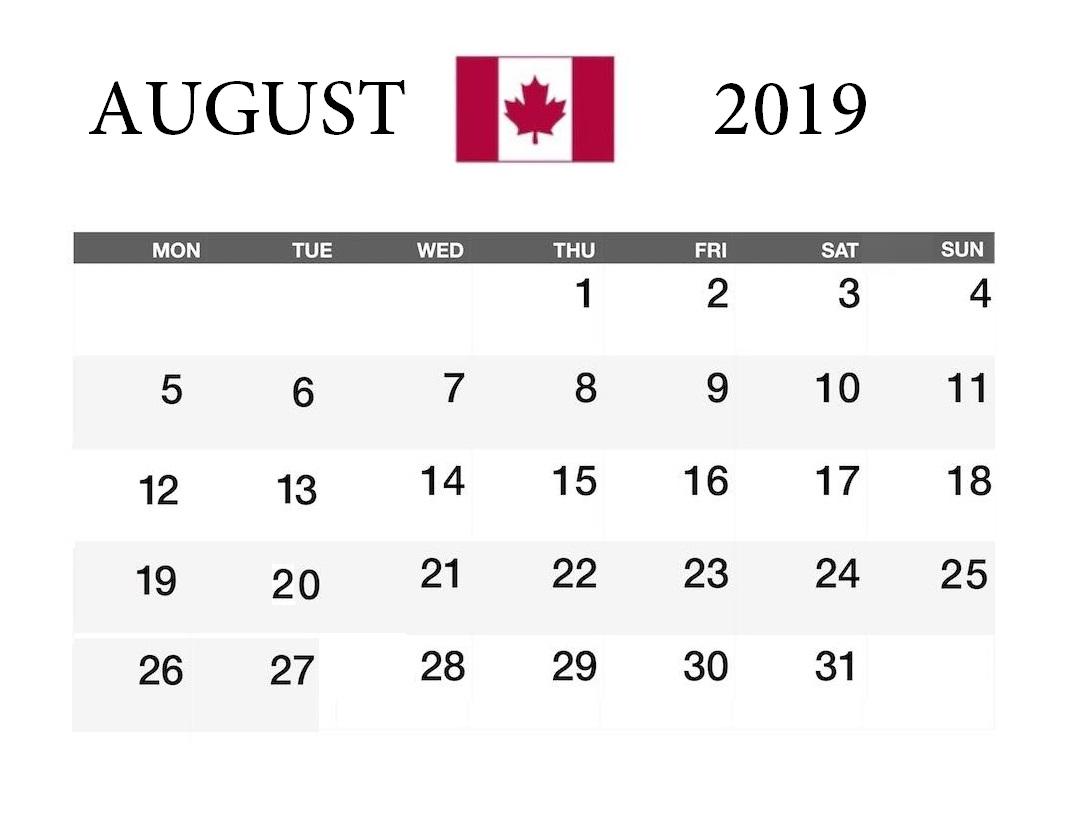 August 2019 Canada Federal Holidays