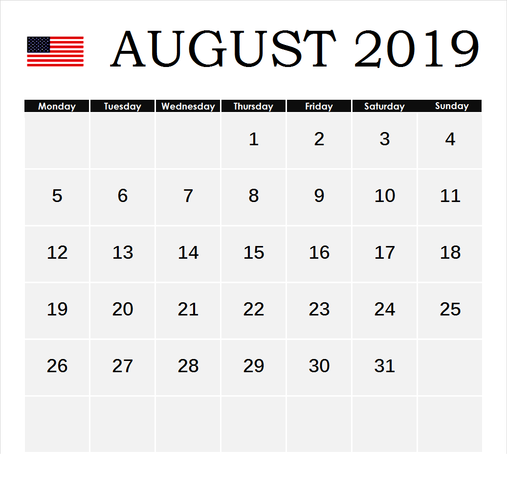 August 2019 Holidays Calendar