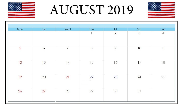 August 2019 US Holidays Calendar