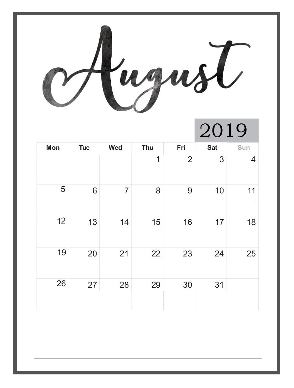 August 2019 Wall Calendar